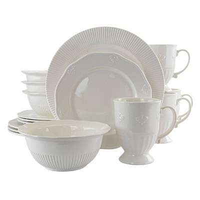 Gibson Home 16pc Ceramic Scallop Crest Dinnerware Set White