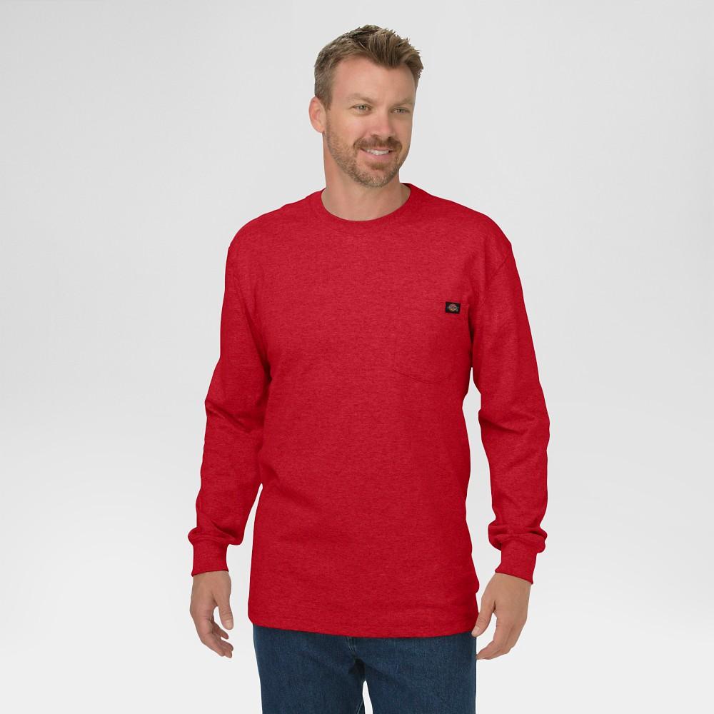 Dickies Men 39 S Long Sleeve Heavyweight Crew Neck T Shirt English Red L