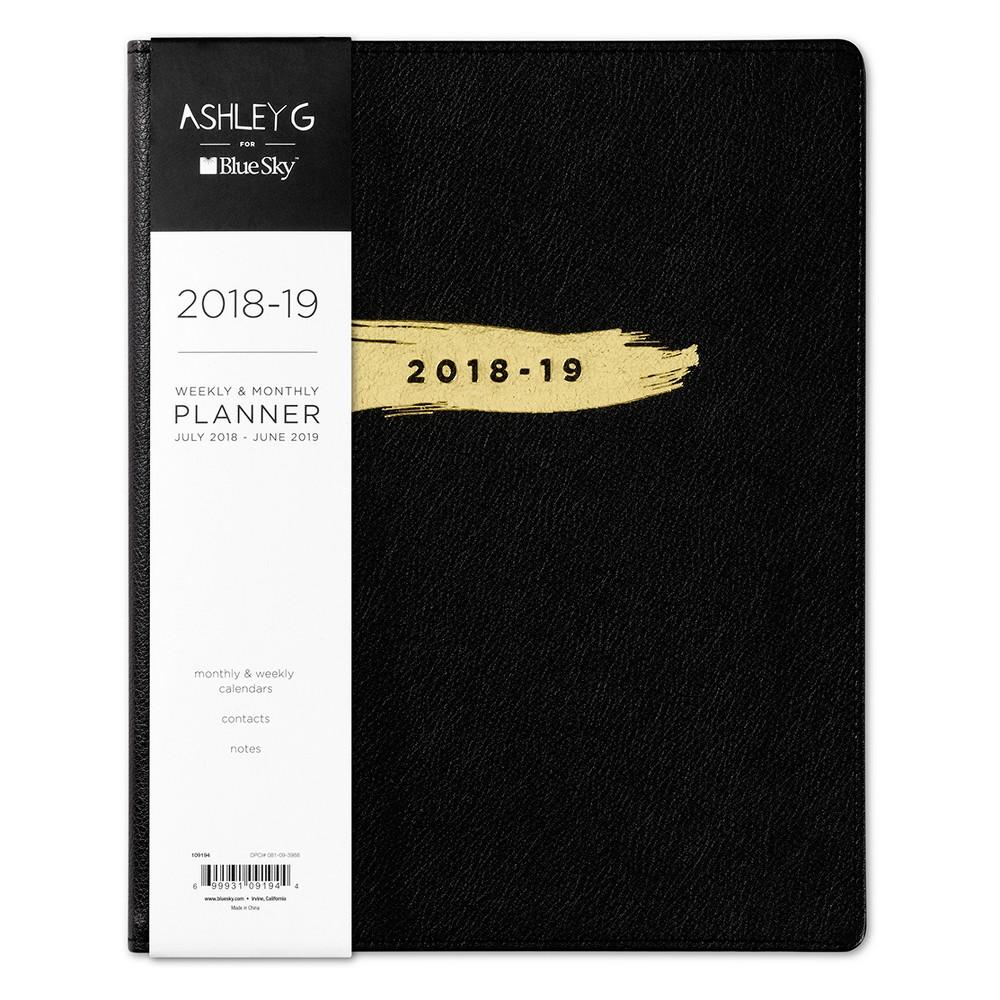 2018-19 Academic Planner Faux Leather 8.5 x 10 Black - Blue Sky