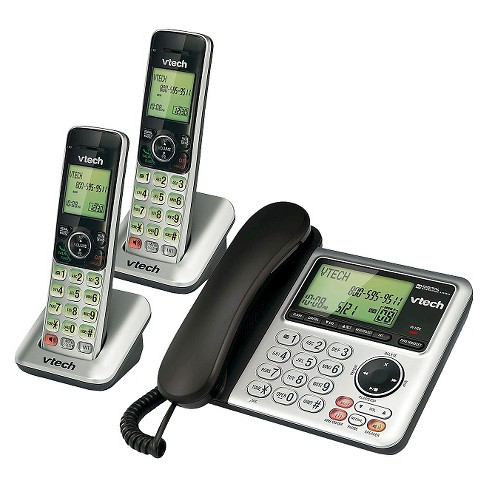 23b6fd79e8df VTech® CS6649-2 DECT 6.0 Expandable Corded/Cordless Phone with Answering  Machine, 2 Handsets -Silver