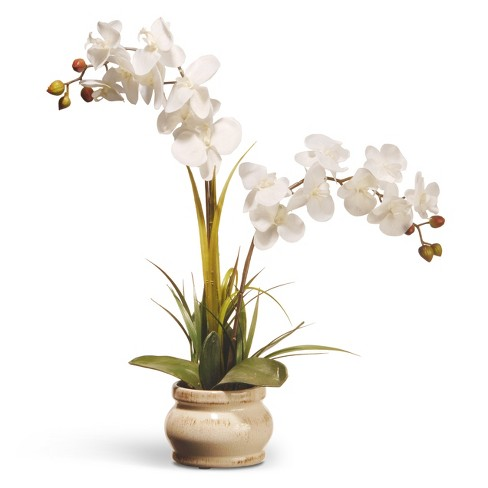 Artificial Potted Orchid Flower White 24 National Tree Company