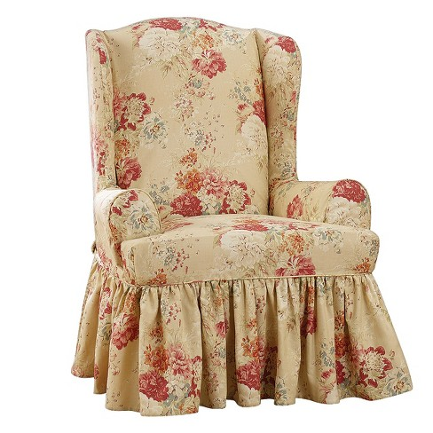 Awesome Ballad Bouquet Wing Chair Slipcover Waverly Machost Co Dining Chair Design Ideas Machostcouk