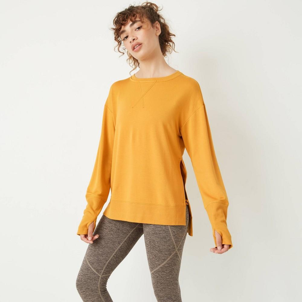Women 39 S Cozy Side Slit Pullover Joylab 8482 Gold S