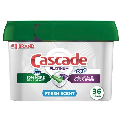 Cascade Platinum + Oxi Dishwasher Pods, ActionPacs Dishwasher Detergent Tabs, Fresh Scent - 36ct - image 1 of 4