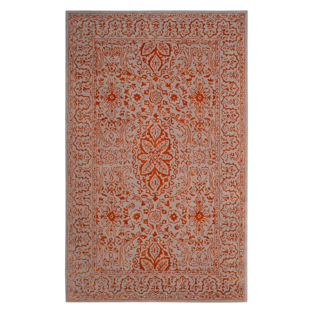 5'X8' Floral Area Rug Gray/Rust (Gray/Red) - Safavieh