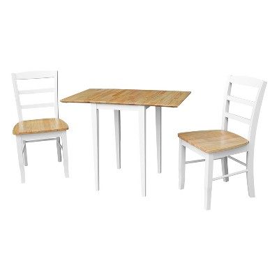 Tate Dual Drop Leaf Table with 2 Madrid Ladderback Chairs Dining Sets White/Natural - International Concepts