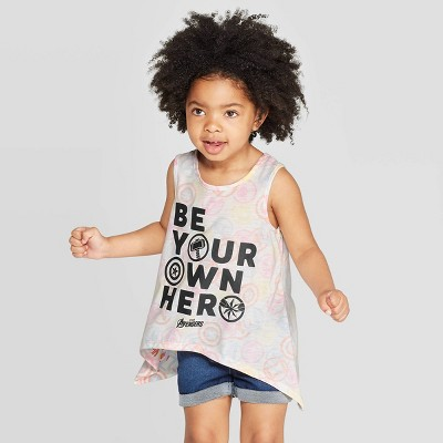 Toddler Girls' Avengers Be Your Own Hero Tank Top - Ivory 12M