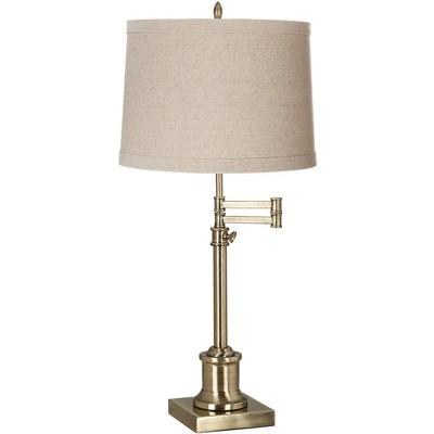 360 Lighting Swing Arm Desk Table Lamp Antique Brass Natural Linen Drum Shade for Living Room Bedroom Nightstand Office Family