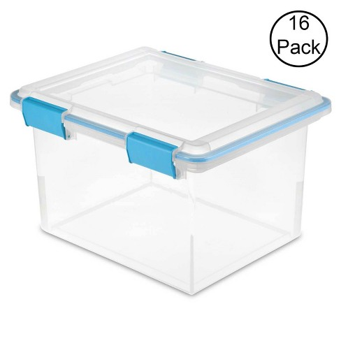 Sterilite 19334304 Clear 32 Quart Gasket Box with Clear Base and Lid (16 Pack) - image 1 of 2