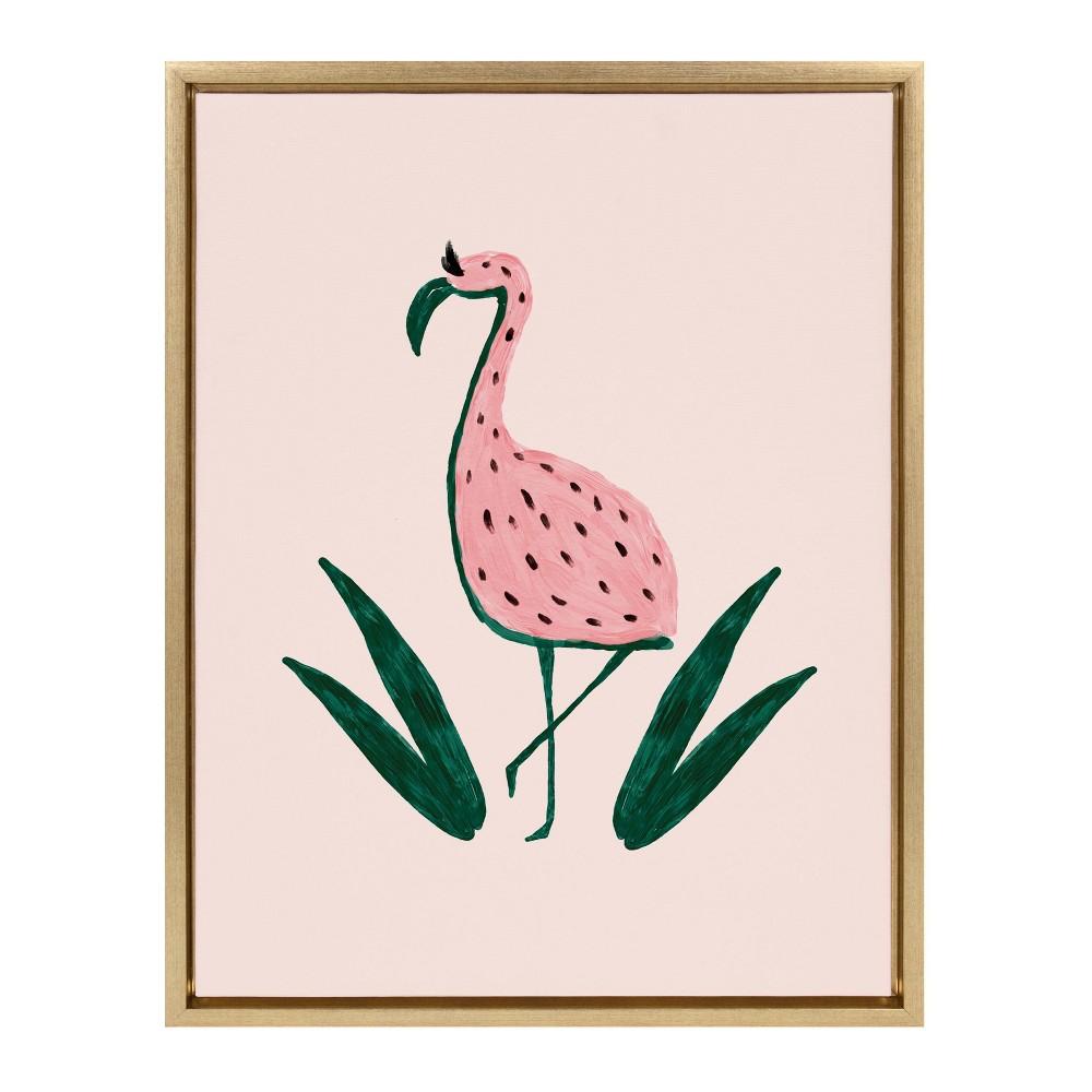 18 34 X 24 34 Sylvie Flamingo Watermelon Framed Canvas By Kendra Dandy Gold Designovation