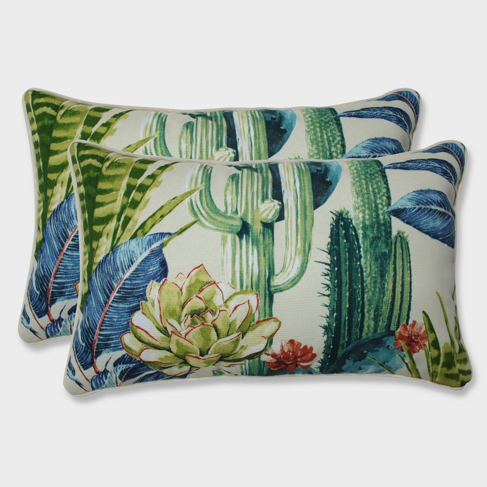 2pk Hatteras Garden Rectangular Throw Pillows Black - Pillow Perfect