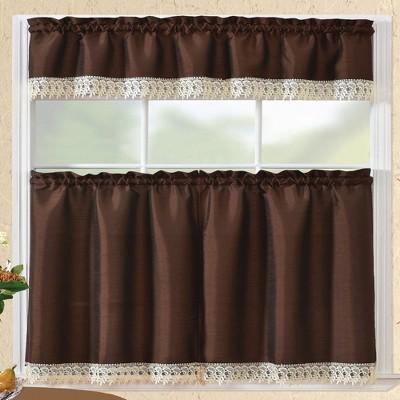 "Ramallah Trading Brazil Tier & Valance Kitchen Curtain Set - 30x36"" & 58x15"""