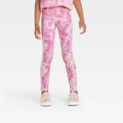 Girls' Tie-Dye Leggings - Cat & Jack™ Pink/Cream