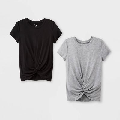 Girls' Short Sleeve Twist Front 2pk T Shirt   Art Class™ Gray/Black by Art Class