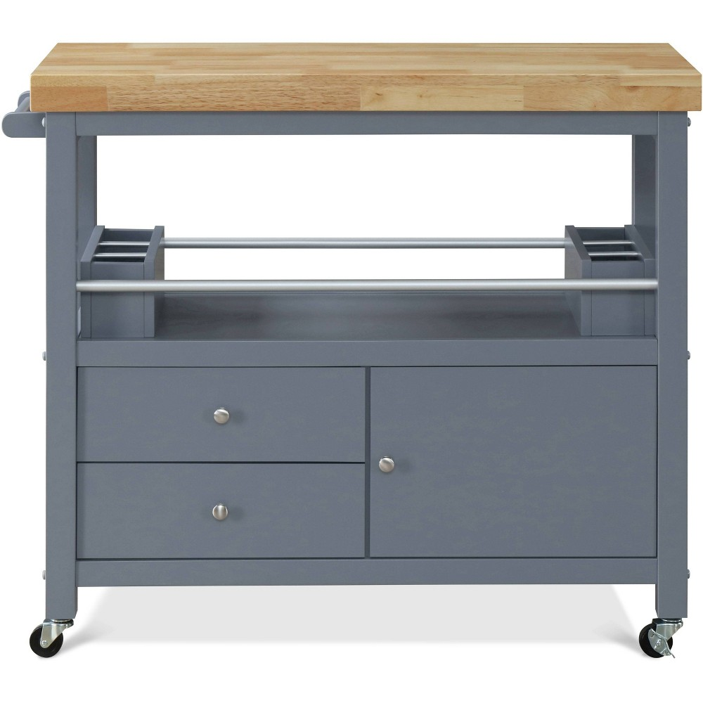 Image of Anson Kitchen Cart Gray - Click Décor