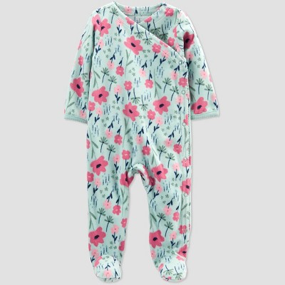 Baby Girls' Floral Fleece Footed Pajama - Just One You® made by carter's Sage Green Newborn