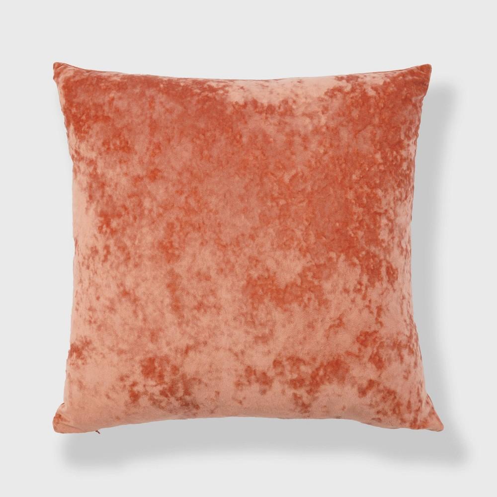 20 34 X20 34 Oversize Soft Crushed Velvet Square Throw Pillow Orange Freshmint