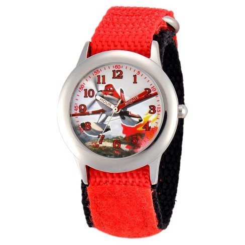 Boys' Disney Dusty Boys'' Stainless Steel Plain Case Watch - Red - image 1 of 2
