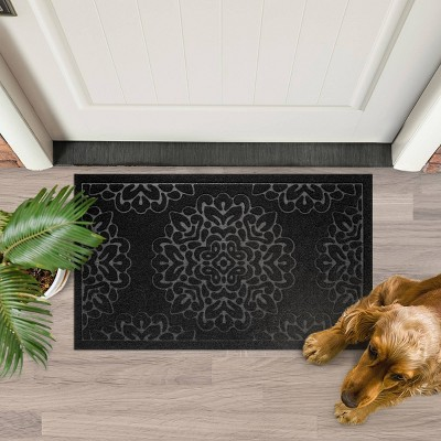 1'6 X2'6  Damask Doormats Black - Multy Home LP