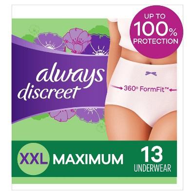 Always Discreet Incontinence & Postpartum Incontinence Underwear for Women - Maximum - XXL - 13ct