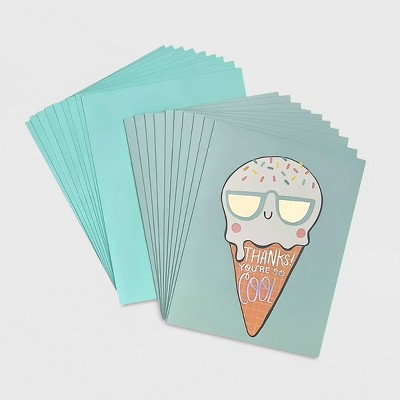 """10ct """"Thanks! You're so Cool"""" Ice Cream Boxed Card Set"""