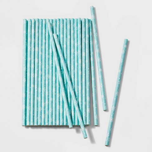 40ct Snowflake Disposable Paper Straws Blue and White - Wondershop™ - image 1 of 1