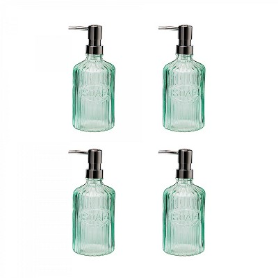 Amici Home Basin Glass Soap Pump, Green, 16oz, Set of 4