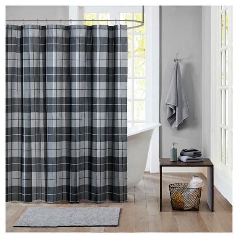 Plaid Shower Curtain Black Gray - image 1 of 1