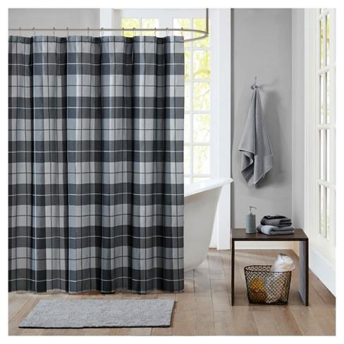 Plaid Shower Curtain Black Gray Target