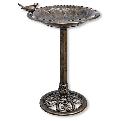 "30"" Tall Resin Bird Bath with Bird - Backyard Expressions"
