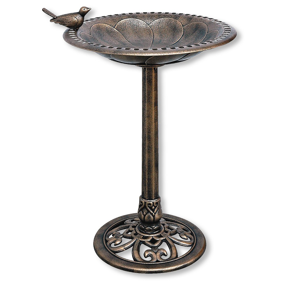 "Image of ""30"""" Tall Resin Bird Bath with Bird - Backyard Expressions"""