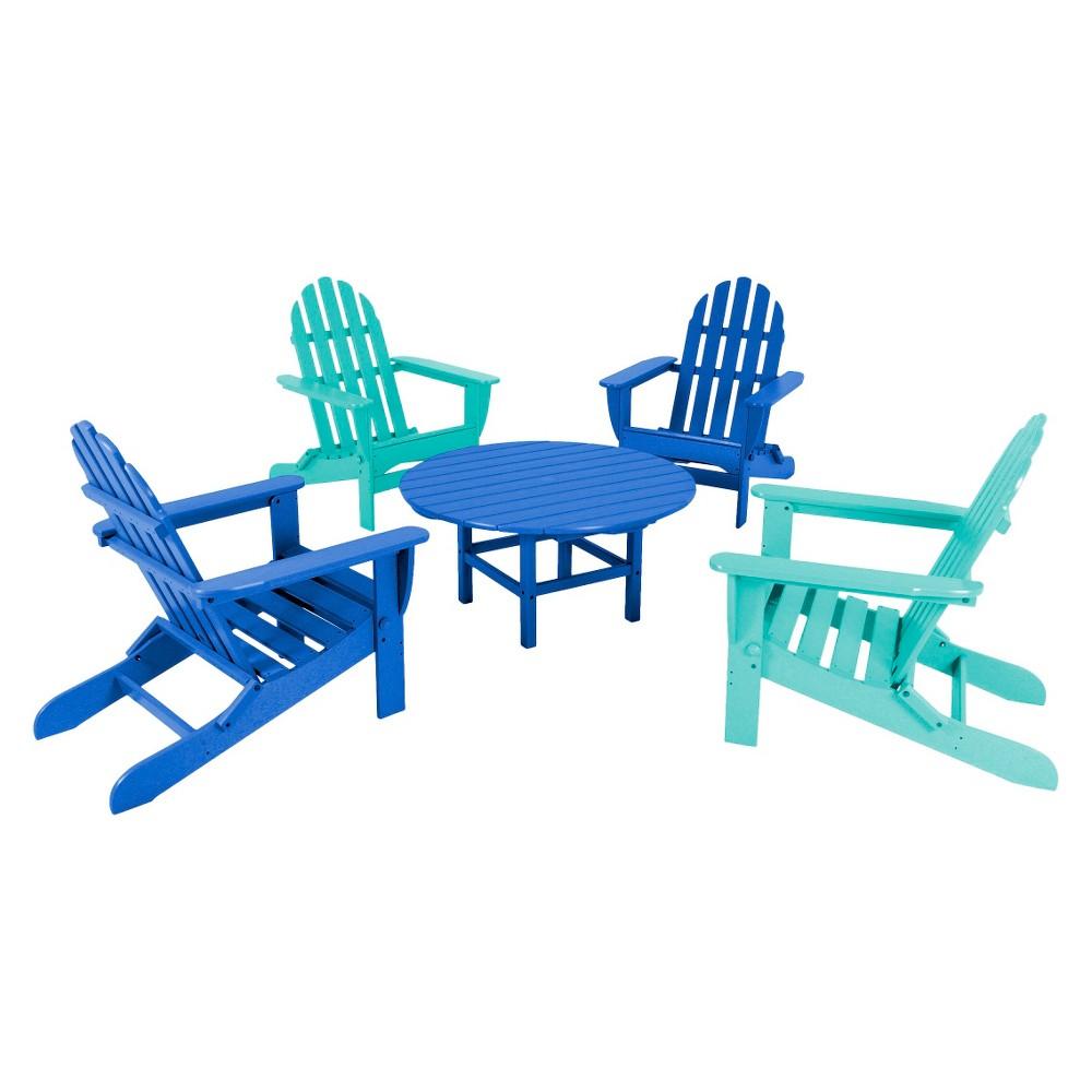 Polywood 5-Piece Adirondack Conversation Furniture Set - Blue/Aruba