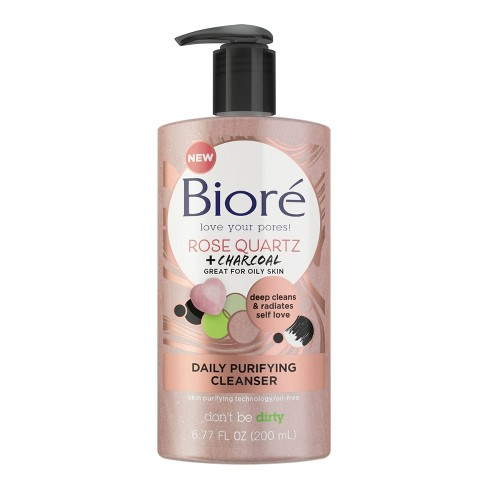 Biore Rose Quartz + Charcoal Daily Purifying Cleanser - 6.77 fl oz - image 1 of 2