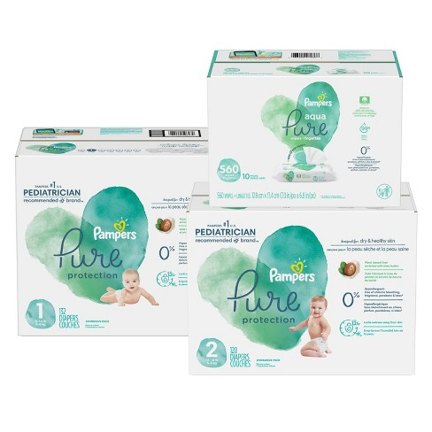 Pampers Pure Protection Disposable Diapers Size 1 - 132ct + Size 2 - 120ct & Pampers Aqua Pure Wipes - 560ct - Bundle - image 1 of 4