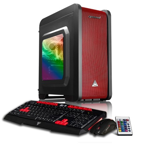 CybertronPC Rhodium GXM7406T Gaming PC with AMD Ryzen 5 1600 Processor, NVIDIA GeForce GTX 1080 Graphics - Black/Red/RGB - image 1 of 4