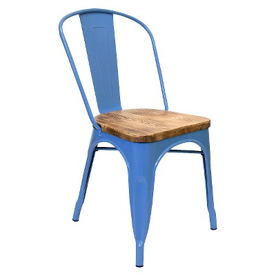 Garvin 2 Wood Top Chair Galvanized Steel (Set Of 2)   Aeon