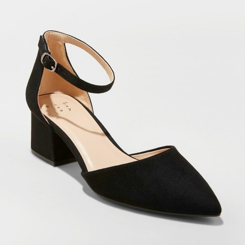 Women's Natalia Microsuede Pointed Toe Block Heeled Pumps - A New Day™ - image 1 of 3