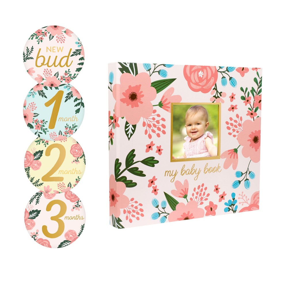 Image of Pearhead Baby Memory Book and Baby Belly Sticker Set Floral Photo and Scrapbook Albums, White