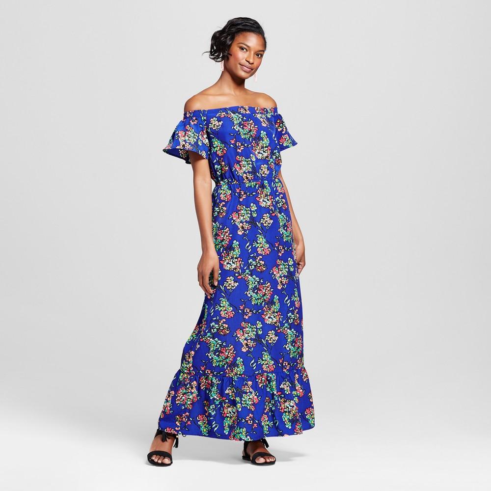 Image of Women's Floral Print Cold Shoulder Maxi Dress - Merona Blue XXL, Size: XXL