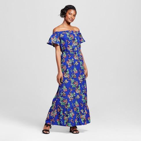 Women's Floral Print Cold Shoulder Maxi Dress - Merona™ Blue XXL - image 1 of 3