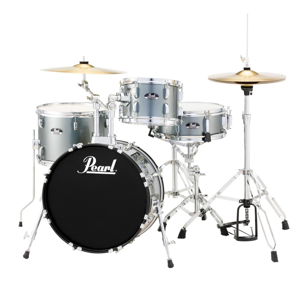Pearl Roadshow 4pc Drumset with Hardware & Cymbals - Charcoal (RS584), Almost Black