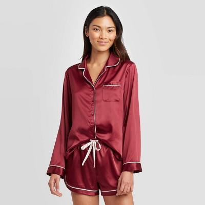 Women's Satin Long Sleeve Notch Collar Pajama Set   Stars Above™ Burgundy by Stars Above