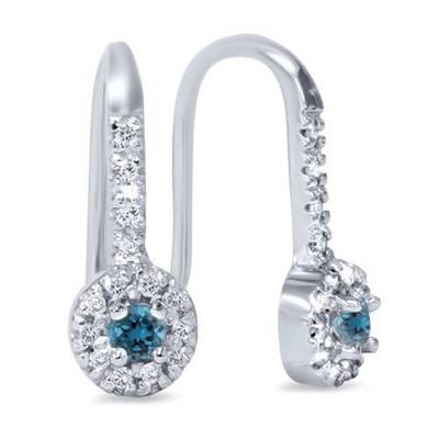 Pompeii3 1/2ct Treated Blue & White Diamond Dangle Earrings 10K White Gold
