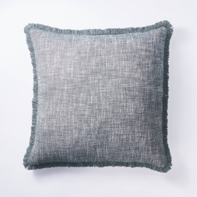 Oversized Square Woven Textured Pillow Blue - Threshold™ designed with Studio McGee
