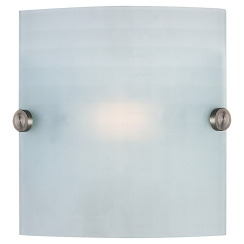 Radon Square Wall Sconce with Checkered Frosted Glass Shade - Brushed Steel - image 1 of 1
