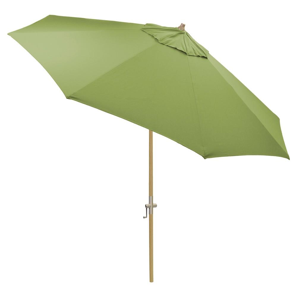9' Round Sunbrella Umbrella - Spectrum Cilantro - Light Wood Finish - Smith & Hawken, Green