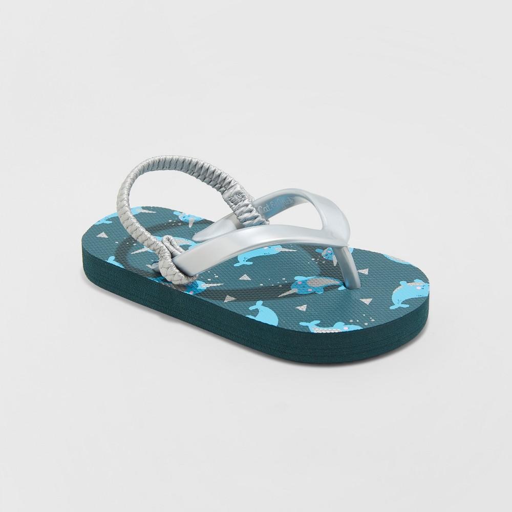 Toddler Girls' Keira Narwhal Flip Flop Sandals - Cat & Jack Navy M, Blue