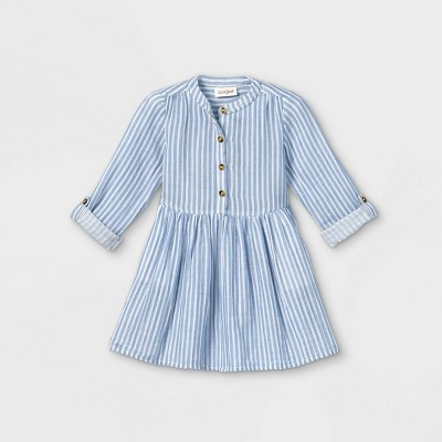 Toddler Girls' Striped Button-Front Long Sleeve Dress - Cat & Jack™ Blue/White