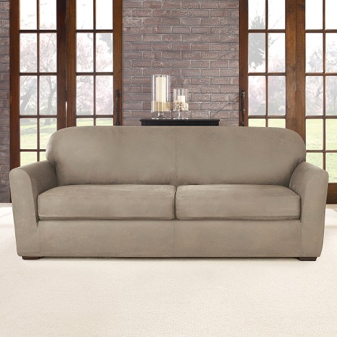 Ultimate Stretch Leather 3pc Sofa Slipcover Rustic Birch Sure Fit