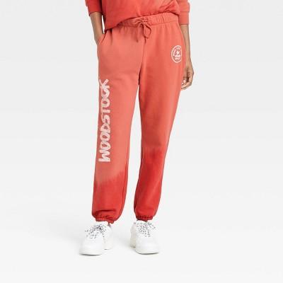 Women's Woodstock Graphic Jogger Pants - Red Tie-Dye